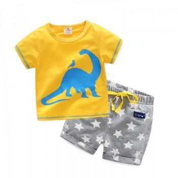 2-piece Cute Dino Print T-shirt and Star Pattern Shorts Set for Boy