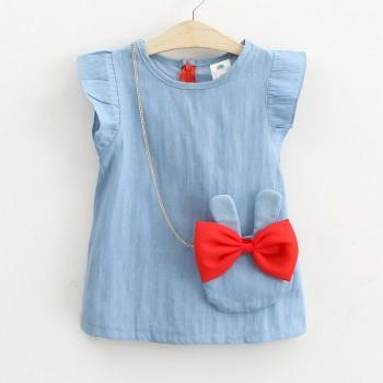 Toddler Girl's Trendy Denim Dress with Rabbit Bag