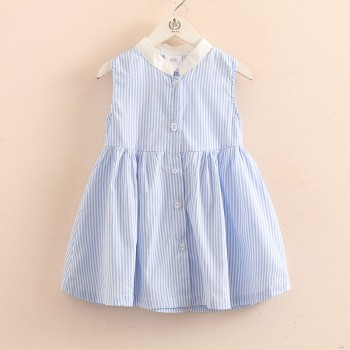 Girl's Trendy Sleeveless Stripes Dress in Blue