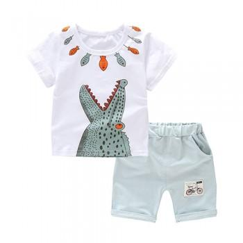 2-piece Fun Fish and Crocodile Print Tee and Shorts Set for Toddler Boys
