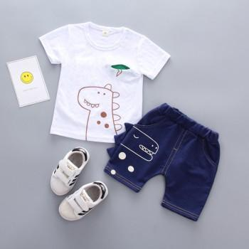 Cute Dinosaur Print Short-sleeve T-shirt and Shorts Set for Baby and Toddler Boy