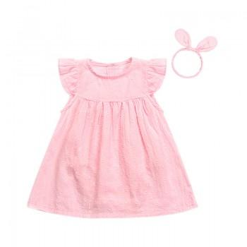 Baby Girl's Cute Flutter Sleeves Solid Dress with Headband
