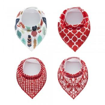 4-pack Floral Print Cotton Bibs for Baby