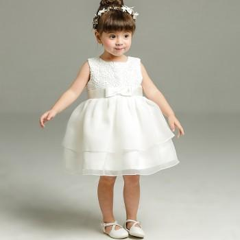 Baby Girl's Lace Bowknot Sleeveless Princess Dress in White