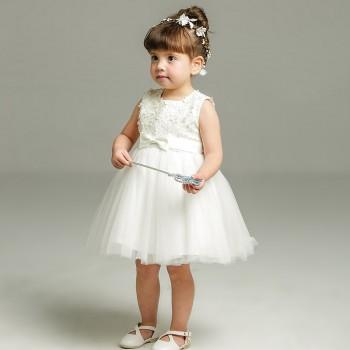 Baby Girl's Flower Lace Bowknot Sleeveless Princess Dress in White