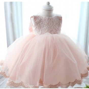 Charming Back Big Lace Bow Wedding Dress for Baby Girl and Girl
