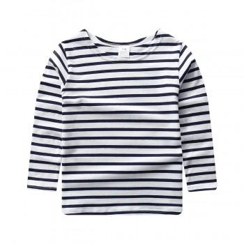 Casual Stripes Long-sleeve Cotton Tee for Toddler/Baby