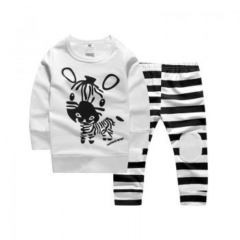 2-piece Cute Zebra Cotton Top and Stripes Pants for Baby
