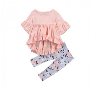 2-piece Ruffled Half-sleeve Top and Floral Pants for Baby Girl