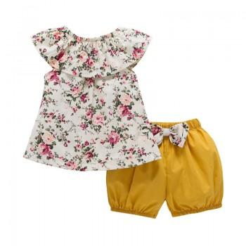 Pretty Flower Print Top and Yellow Shorts Set for Baby Girls