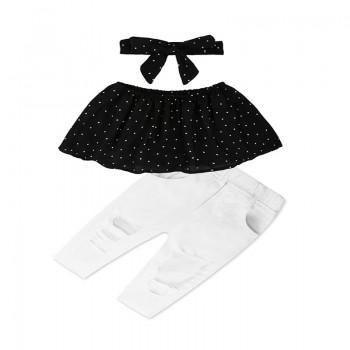3-piece Polka Dotted Ruffled Tube Top Headband and Rip Pants for Girls