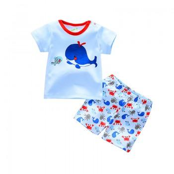 2-piece Whale Print Top and Seabed Animals Pattern Shorts for Baby Boys
