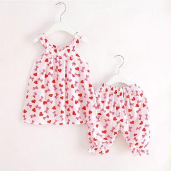 2-piece Cute Love Bowknot Pattern Sleeveless Top and Shorts for Girls