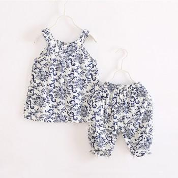 2-piece Elegant Ornament Pattern Sleeveless Top and Shorts for Girls