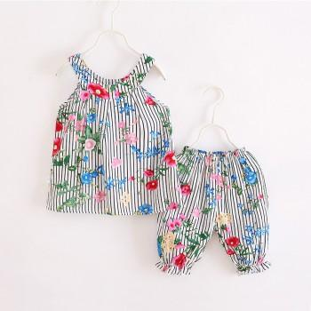 2-piece Floral Pattern Stripes Sleeveless Top and Shorts for Girls
