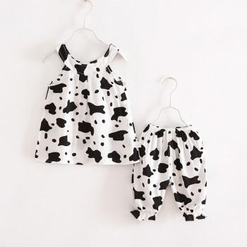 2-piece Stylish Cow Print Sleevless Top and Bloomers for Girls