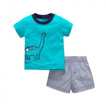 Cute Dino Print Short-sleeve Tee and Pinstriped Shorts Sets for Baby Boys