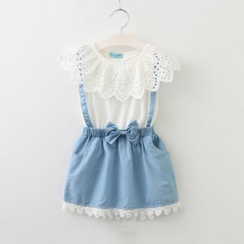 Faux-2 Sweet Hollow Out Lace Collar Dress for Baby Girl and Girl