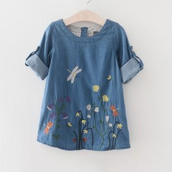 Handsome Embroidered Denim Dress for Girl