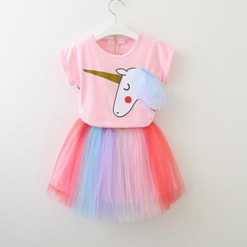 2-piece Unicorn Print Short Sleeves Tee and Tulle Skirt for Toddler Girl