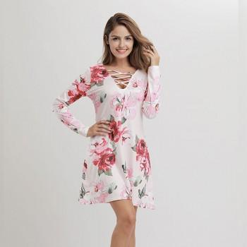 Women Sassy Floral Printed Lace-up Long Sleeve Dress in Pink