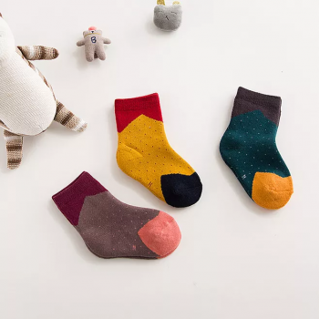 3-pack Trendy Color Blocking Dotted Socks Set for Baby and Kid