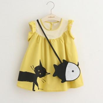 Lovely Cat Print Ruffled Sleeves Dress with Fish Bag for Girls