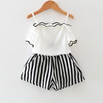 Pretty Off Shoulder Ruffled T-shirt and Striped Pants Set for Girl