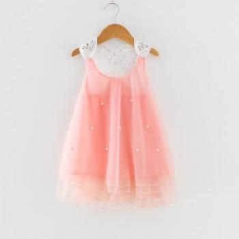 Beautiful Color-blocking Pearl Decor Mesh Sleeveless Dress in Pink for Girl
