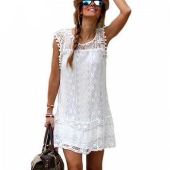 Pretty Solid Pompon Design Sleeveless Lace Dress for Women