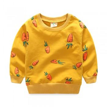 Cute Carrot Print Long-sleeve Pullover for Toddler and Kid