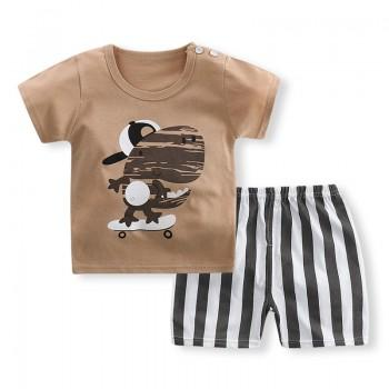 2-piece Dinosaur Print Short-sleeve Tee and Stripes Shorts for Baby and Toddler Boy