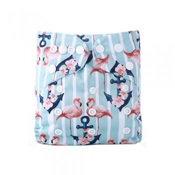 Baby's Reusable Washable Adjustable Flamingo Print Cloth Diaper