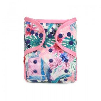 Reusable Floral Cloth Diaper in Light Pink for Baby