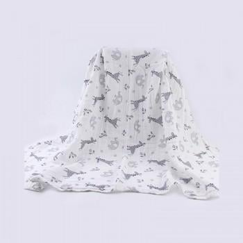 1-pack Baby's Giraffe and Elephant Pattern Gauze Blanket Stroller Cover Bath Towel