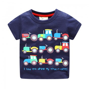 Cute Car and Letter Print Short Sleeves Tee for Boys
