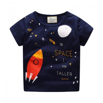 Comfy Rocket Space Print Short Sleeves Tee for Boys