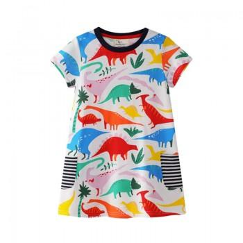 Pretty Dinosaur Pattern Short Sleeves Dress for Toddler Girl and Girl