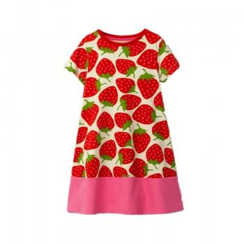 Trendy Strawberry Print Short-sleeve Dress for Girl