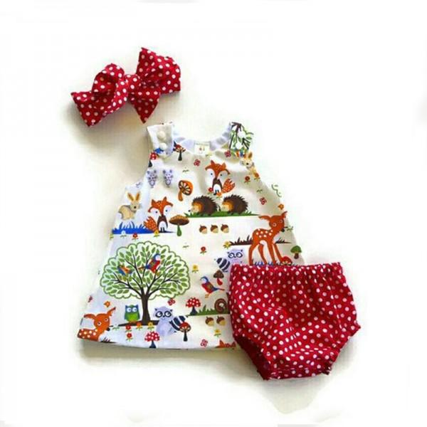 3-piece Animal Tank Top, Polka Dotted Pantie and Headband Set for Baby Girl