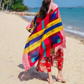 Stylish Striped Tassel Decor Sun-proof Beach Gauze Kerchief in Red