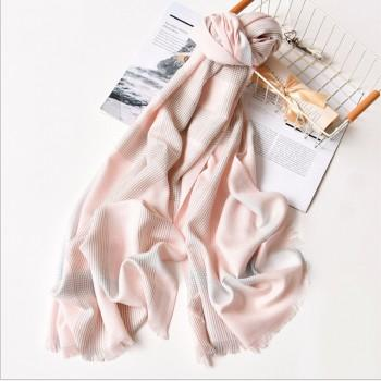 Elegant Striped Tassel Decor Sun-proof Beach Gauze Kerchief in Pink