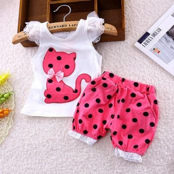 Adorable Cat Applique Ruffle Decor Top and Polka Dot Pants Set for Baby Girl