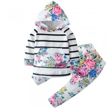 Chic Floral Striped Hoodie and Pants Set in White for Baby Girl