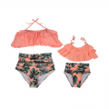 Leaves Print Ruffled Halter 2-piece Bikini Set for Mom and Me