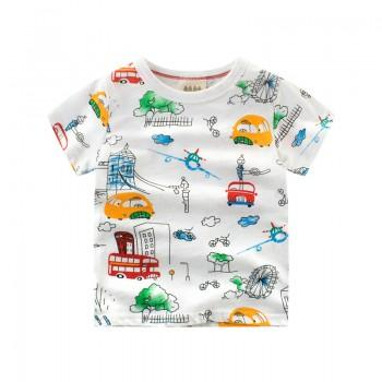 Cool Vehicle Print Short-sleeve T-shirt for Toddler Boy and Boy