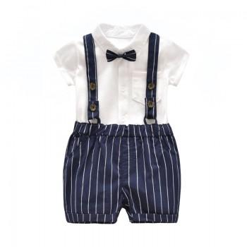 2-piece Handsome White Top and Striped Strap Pants Set for Baby Boy