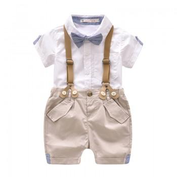 Handsome Bow Tie Short-sleeve Shirt and Suspender Shorts Set in White for Baby Boy