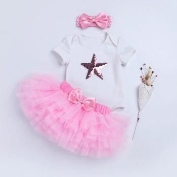 3-piece Sequin Star Romper Tutu Skirt and Bow Headband for Baby Girl