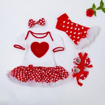 4-piece Polka Dotted Tutu Romper Headband Leg Warmers and Shoes Set for Baby Girl